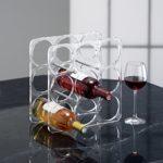 rotho 1430300096 Weinregal Classic hochwertiges für 9 Flaschen aus Acryl mit Stiften Edelstahl, Mass circa 31 x 17 x 31 cm, transparent - 1