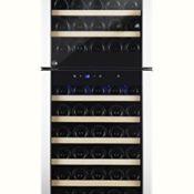 Kalamera KRC-73DZF Design Weinkühlschrank Weinflaschen Kühlschrank für bis zu 73 Flaschen (bis zu 310 mm Höhe),zwei Temperaturzonen ,5-18°C,(200 Liter, LED Bedienoberfläche, 2 Kühlzonen, Edelstahl) [Energieklasse B]